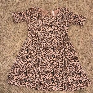 Girls Dress- Pink and Black Roses